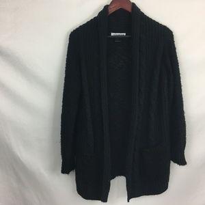 Cotton Emporium Chunky Black Open Cardigan Small